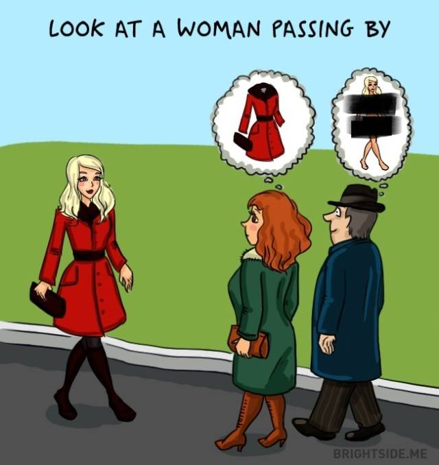 look at women passing by